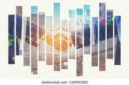 Handshake on  background with colorful forex chart and building,city scape.Teamwork, achieve, finance and trade concept. Double exposure