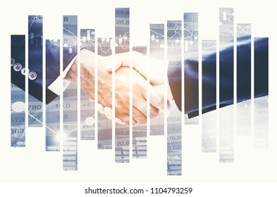 Handshake on  background with forex chart. Teamwork, achieve, finance and trade concept. Double exposure