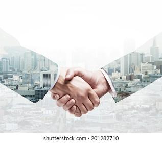 handshake on a city background