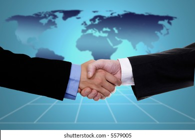 handshake over world map, business or politic concept indicating globalization