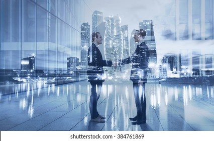 handshake, partnership and collaboration concept, double exposure