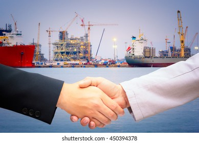 Handshake for port construction agreement of logistics partners.