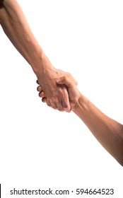 Handshake and rescue or helping gesture of hands