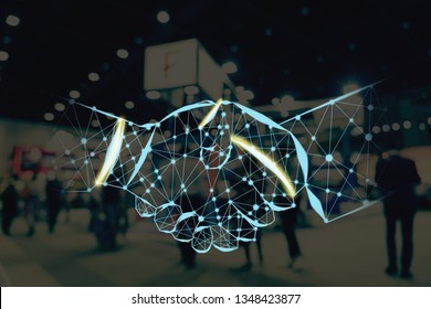 Handshake shape writing by lines and dots over Abstract blurred photo of financial exhibition event in conference hall background, business trade and stock market exchange with agreement concept