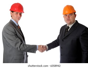 Handshake, two builderman over white isolated.