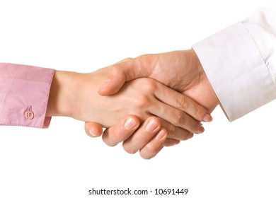 Handshake of two business people, isolated on white