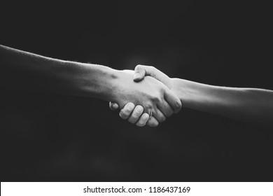 Handshake - women's and children's hand touch each other