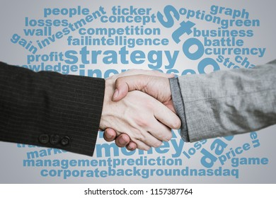 Handshake word cloud for business strategy and financial money making concept.