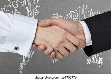 Handshake, World background.