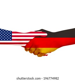 Handshake, wrapped up in a sample of a flag, USA and Germany