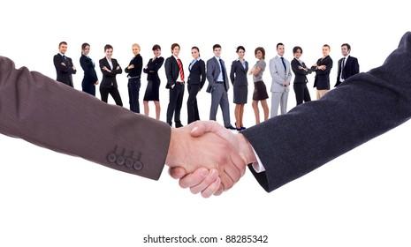 handshakeof two businessmen  isolated on business background