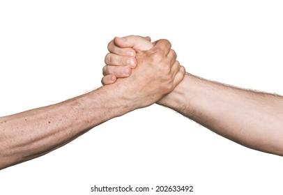 Handshaking. Man's handshake isolated on white background