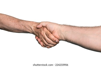 Handshaking. Shaking hands of two male people, isolated on white