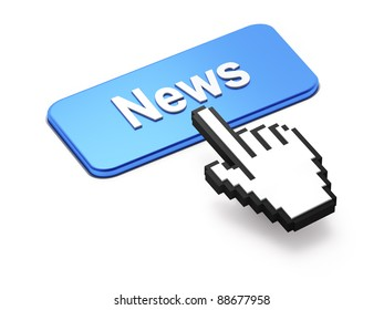 Hand-shaped mouse cursor press News button on white background