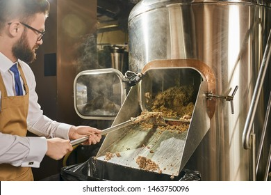 Handsome, adult brewery worker in glasses, white shirt and brown apron holding shovel with milled malt grains. Concept of brewing. Process of fragmentation of malt.