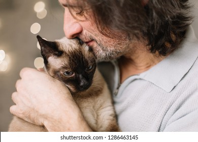 handsome adult man holding a cute, lovely fluffy cat. Siamese breed.