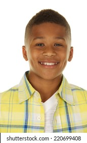 Handsome African American Boy Head shot on White Background
