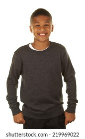 Handsome African American Boy on White Background
