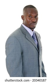 Handsome African American man in a gray business suit.