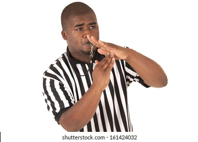 Handsome African american referee calling time out