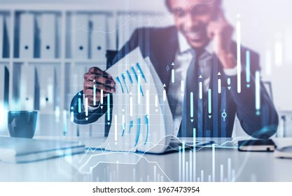Handsome African American sale person at investment bank is contacting with a client to invest in a new financial product to gain profit by checking fresh analytic report. Buy or sell stock concept