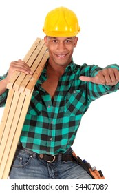 Handsome african American young sexy construction worker with open shirt and  safety helmet. studio shot,  white background