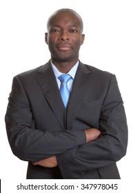 Handsome african businessman in a dark suit