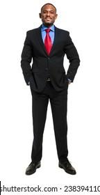 Handsome african businessman full length portrait