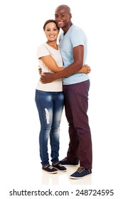 handsome african husband hugging wife over white background