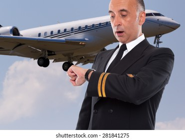 Handsome airline worker looking at his watch