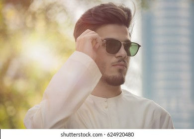handsome Arab model man wearing sunglasses