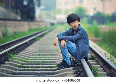 Handsome Asian Boy Posing On Railway Stock Photo Edit Now 461886868 Posing for a photo is awkward af. handsome asian boy posing on railway
