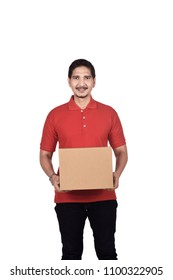 Handsome asian delivery man with parcel standing isolated over white background
