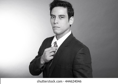 handsome  asian look men portrait in black and white