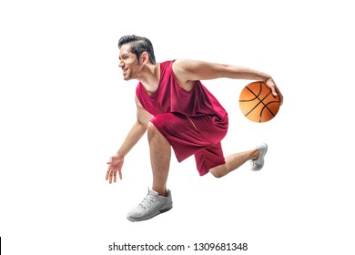 Handsome asian man playing basketball isolated over white background