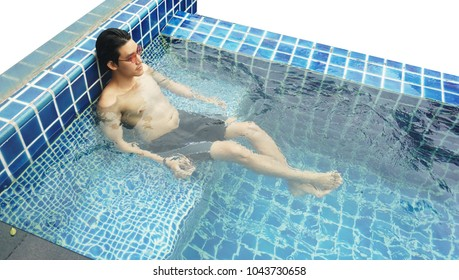 Handsome Asian wet sexy muscular man with red sunglasses sitting  in the swimming pool on sunny day , isolated white background