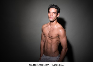 handsome and athletic asian men shirtless