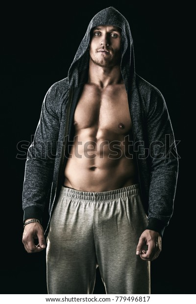 Handsome Athletic Man Hoodie Posing Over Stock Photo Edit Now 779496817