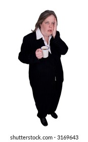 Handsome attractive businesswoman in suit with a cup of coffee in hand with a tired expression on white background with clipping path.