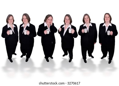 Handsome attractive businesswomen in suits with cups of coffee in hands on white background
