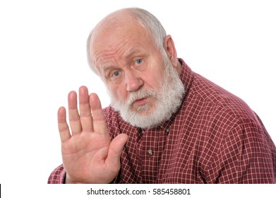 Handsome bald and bearded senior man shows Talk to the hand gesture, isolated on white background