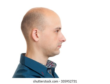 handsome bald man profile isolated on white background