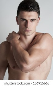 Handsome bare.chested young man