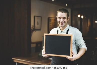 Handsome Barista Coffee Shop Smiling Concept