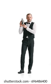 handsome bartender with classical metal shaker isolated on white