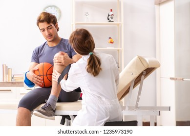 Handsome basketball player visiting female doctor traumatologist