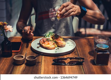 handsome beard man hair, brutal macho, dine in the restaurant, eating delicious served hot dish, Italian pasta, spices, fine dining, europe, food, Kef, lunch,breakfast and dinner in the cafe,smoothie