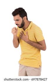 Handsome beard young man coughing, guy wearing yellow t-shirt and jeans, isolated on white background