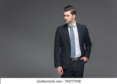 handsome bearded businessman in black suit, isolated on grey
