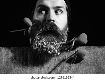 5a1e8ce92b7 handsome bearded man or guy in winter hat with fashionable mustache on  surprised face and snow